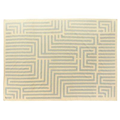 Hand-Woven Wool Light Blue/Ivory Area Rug
