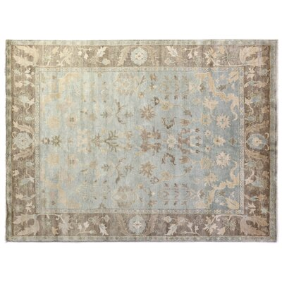 Oushak Hand-Knotted Wool Brown/Light Blue Area Rug Rug Size: Rectangle 12 x 15
