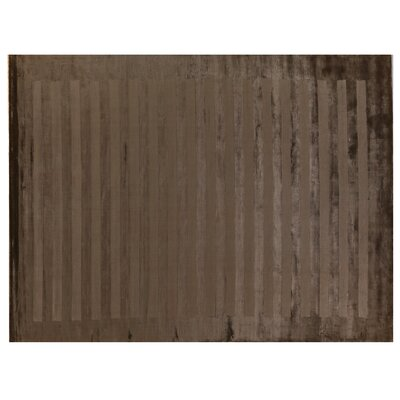 Hand-Woven Silk Dark Beige Area Rug Rug Size: Rectangle 14 x 18