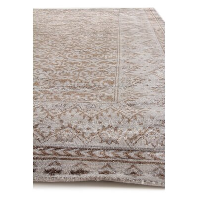 Antique Weave Hand-Knotted Silk Brown/Silver Area Rug Rug Size: Rectangle 9 x 12