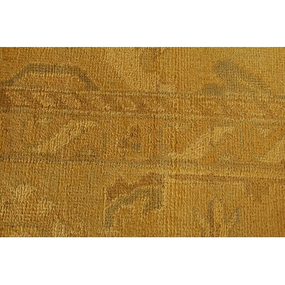Overdyed Hand-Knotted Wool Yellow Area Rug