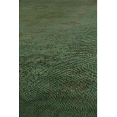 Overdyed Hand-Knotted Wool Green Area Rug