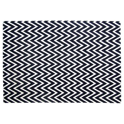 Hand-Woven Wool Black/White Area Rug Rug Size: Rectangle 8 x 11