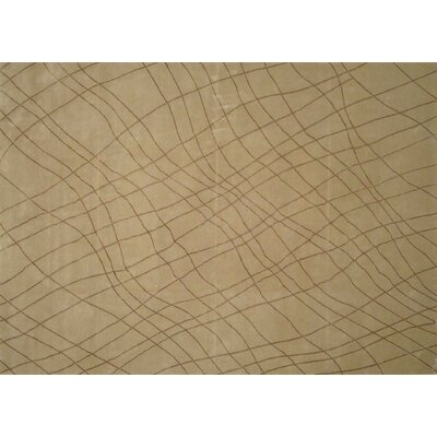 Hand-Knotted Wool/Silk Beige Area Rug Rug Size: Rectangle 9 x 12