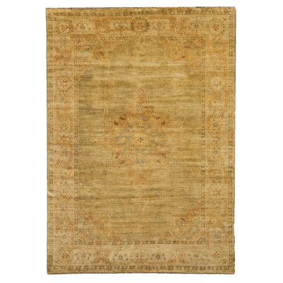 Oushak Hand Knotted Wool Green/Beige Area Rug Rug Size: Rectangle 14 x 18