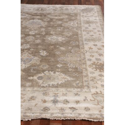 Oushak Hand-Knotted Wool Brown/Ivory Area Rug Rug Size: Rectangle 10 x 14