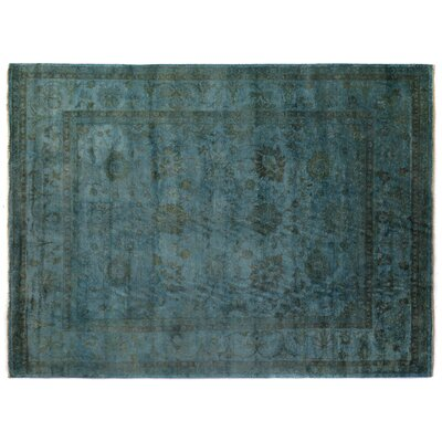 Overdyed Hand-Woven Wool Blue Area Rug Rug Size: Rectangle 8 x 10