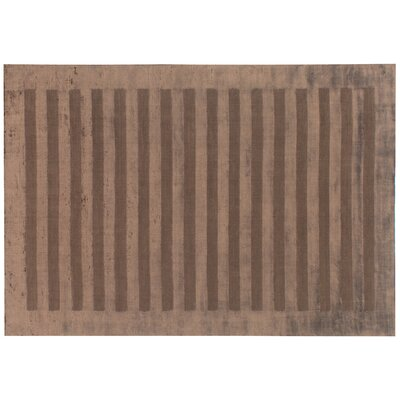 Wide Stripe Panel Hand-Woven Chocolate Area Rug Rug Size: 8 x 10