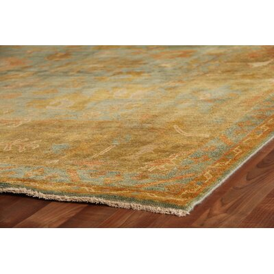 Oushak Hand-Knotted Wool Dark Blue/Beige Area Rug Rug Size: Rectangle 14 x 18