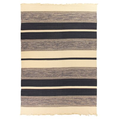 Soft Flat woven Cotton Black/Gray/Beige Area Rug Rug Size: 5 x 8