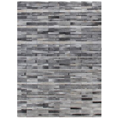 Natural Hide Hand-Woven Cowhide Light Gray Area Rug Rug Size: 5 x 8