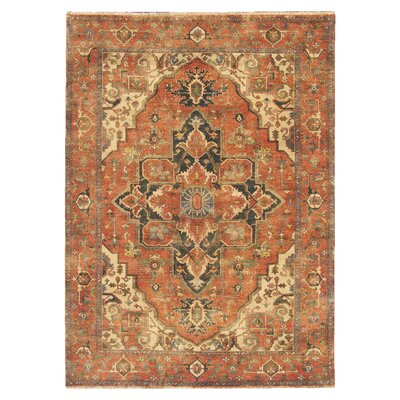 Serapi Hand-Knotted Wool Orange/Beige Area Rug Rug Size: 9 x 12