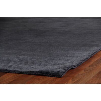 Courdroy Hand Woven Silk Navy Area Rug