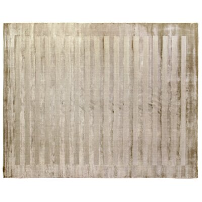 Wide Stripes Pane Hand-Woven Light Beige Area Rug Rug Size: 9 x 12