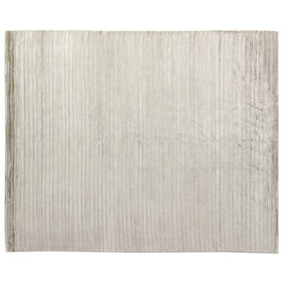 High Low Wave Light Hand-Woven Cotton Light Silver Area Rug Rug Size: 12 x 15
