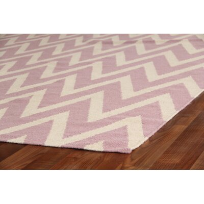 Hand-Woven Wool Cream/Pink Area Rug