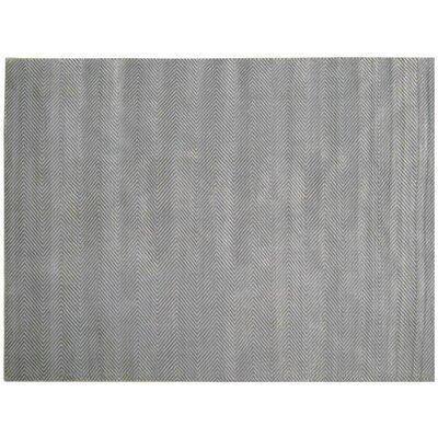 Herringbone Hand-Woven Aqua Area Rug Rug Size: 10 x 14