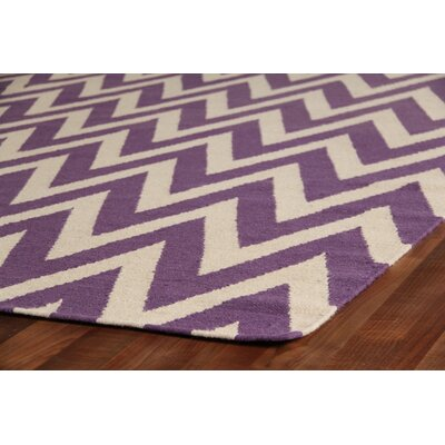 Hand-Woven Wool Cream/Purple Area Rug