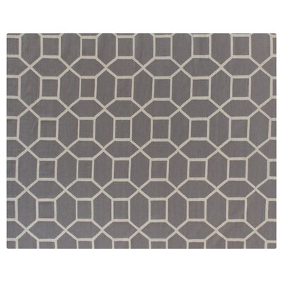 Flat woven Wool Gray/Cream Area Rug Rug Size: 96 x 136