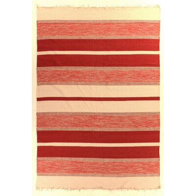 Soft Flat Weave, Cotton, Red (12 x 15) Area Rug