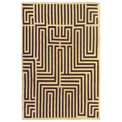 Flat woven Wool Ivory/Dark Brown Area Rug Rug Size: 96 x 136
