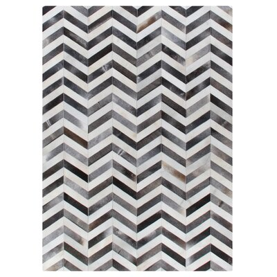 Natural Hide Hand Woven Cowhide White/Gray Area Rug Rug Size: 116 x 146