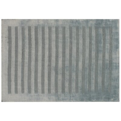 Wide Stripe Panel Hand-Woven Light Blue Area Rug Rug Size: 6 x 9