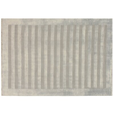 Wide Stripe Panel Hand-Woven Silver Area Rug Rug Size: 10 x 14