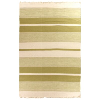 Soft Flat woven Green/Ivory Area Rug Rug Size: 5 x 8