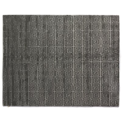 Greek Key Greco Hand-Knotted Wool Dark Gray Area Rug Rug Size: 6 x 9