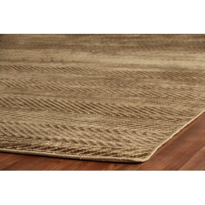 Herringbone Stitch, Art Silk, Dark Khaki (14x18) Area Rug