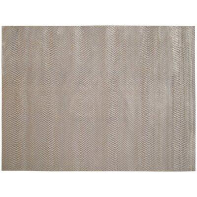 Herringbone Hand-Woven Silver Area Rug Rug Size: 12 x 15