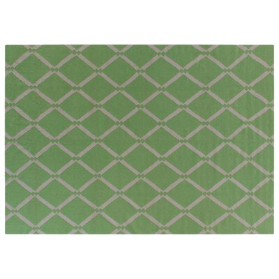 Flat woven Wool Light green/White Area Rug Rug Size: 96 x 136
