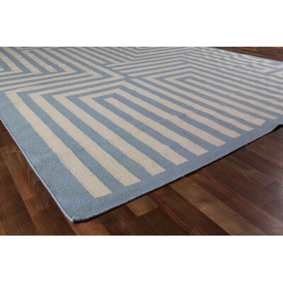 Hand-Woven Wool Blue Area Rug