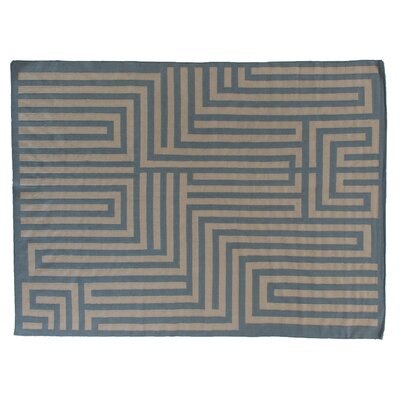 Flat woven Wool Sky blue/Beige Area Rug Rug Size: 96 x 136