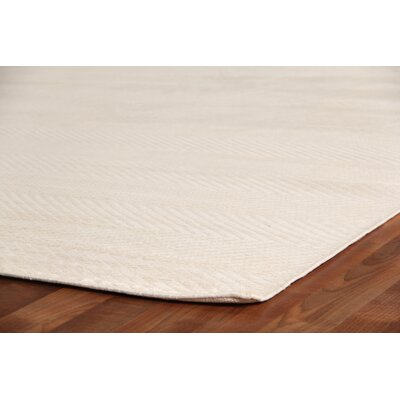 Herringbone Hand-Woven Silk White Area Rug Rug Size: Rectangle 14 x 18