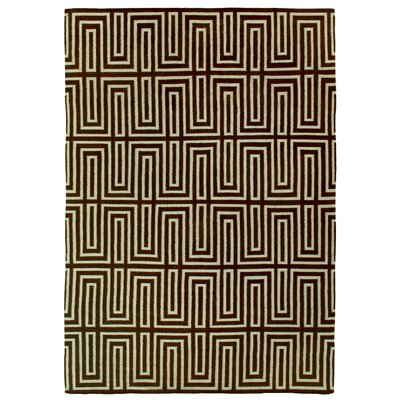 Flat woven Wool Chocolate/White Area Rug Rug Size: 96 x 136