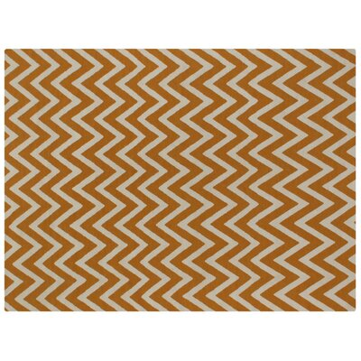 Flat woven Wool Light orange/Ivory Area Rug Rug Size: 96 x 136