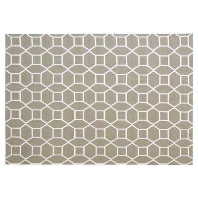 Flat woven Wool Dark sage/White Area Rug Rug Size: 5 x 8
