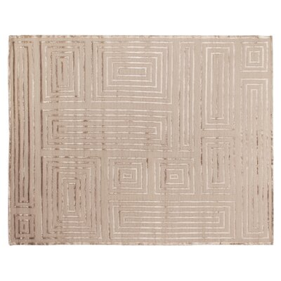 Metro Moreno Hand-Knotted Wool Beige Area Rug Rug Size: 4 x 6