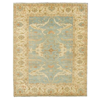Oushak Hand-Knotted Wool Blue/Ivory Area Rug Rug Size: 9 x 12