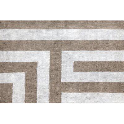 Hand-Woven Wool Beige Area Rug