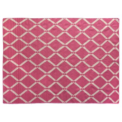 Flat woven Wool Pink/Ivory Area Rug Rug Size: 8 x 11