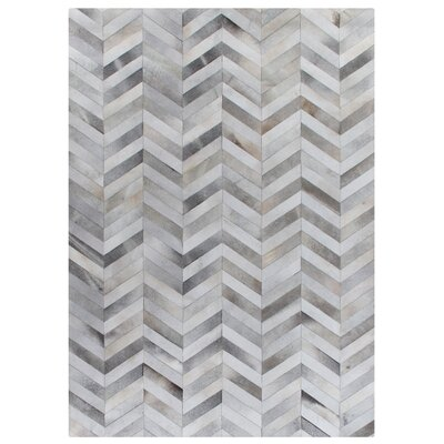 Natural Hide Hand-Woven Cowhide White/Silver Area Rug Rug Size: 5 x 8
