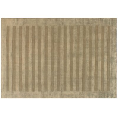 Wide Stripe Panel Hand-Woven Dark Beige Area Rug Rug Size: 10 x 14