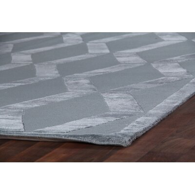 Hand-Knotted Wool/Silk Aqua Area Rug Rug Size: Rectangle 4 x�6