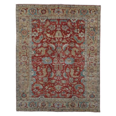 Serapi Hand-Knotted Wool Red/Gold Area Rug Rug Size: 6 x 9
