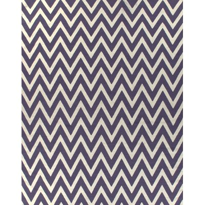 Flat Weave Plum/White Area Rug Rug Size: 8 x 11