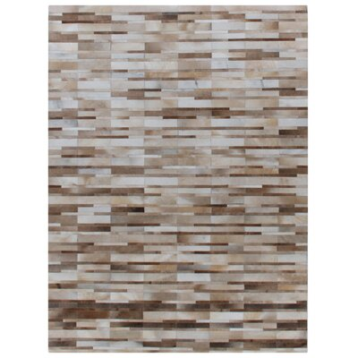Natural Hide, Leather, Beige/Ivory/Multi (14x18) Area Rug Rug Size: 116 x 146