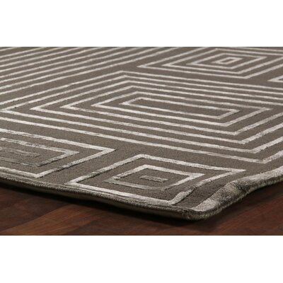 Hand-Knotted Wool/Silk Brown/White Area Rug